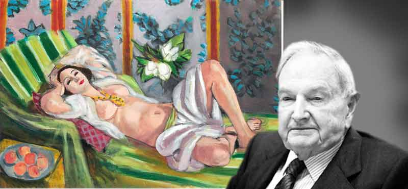 "David Rockefeller (right) and Matisse's ""Odalisque couchee aux magnolias"" (left"