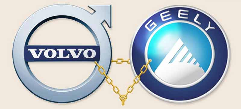 Volvo and Geely logos