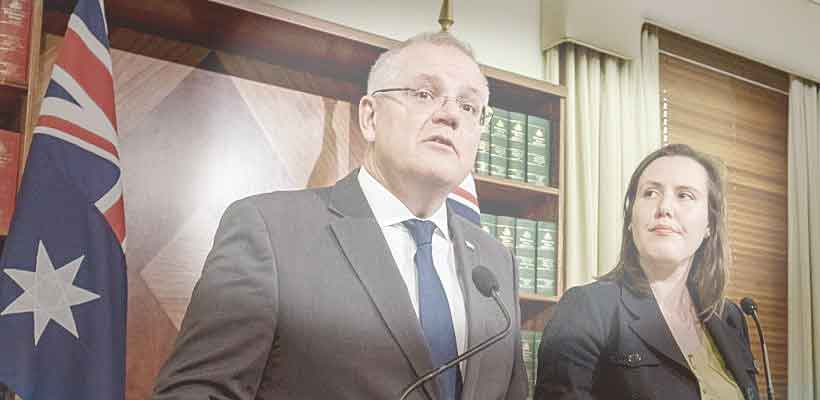 Australian treasurer Scott Morrison and Financial Services Minister, Kelly O'Dwye Photo:AFP