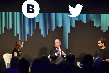 Bloomberg founder Mike Bloomberg and Twitter founder Jack Dorsey talk with Bloomberg Television anchor Emily Chang at Bloomberg Media's 2017 IAB Digital Content NewFront, May 1, 2017. Photo: Jamie Watts/Bloomberg