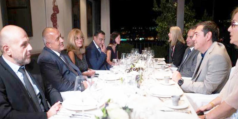 "Prime Minister Alexis Tsipras hosted a dinner for Bulgarian counterpart Boyko Borisov at the hotel ""Imaret"" in Kavala, Greece"